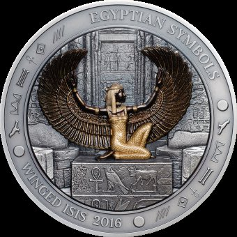 WINGED ISIS Egyptian Symbols 3 Oz Silver Coin