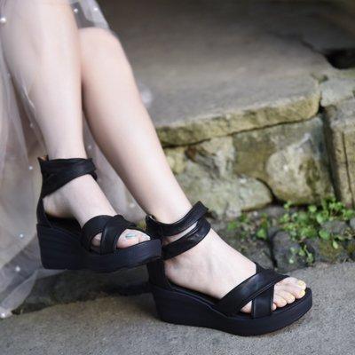 有家服飾原創坡跟厚底涼鞋舒適百搭羅馬鞋女真皮2019夏季新款