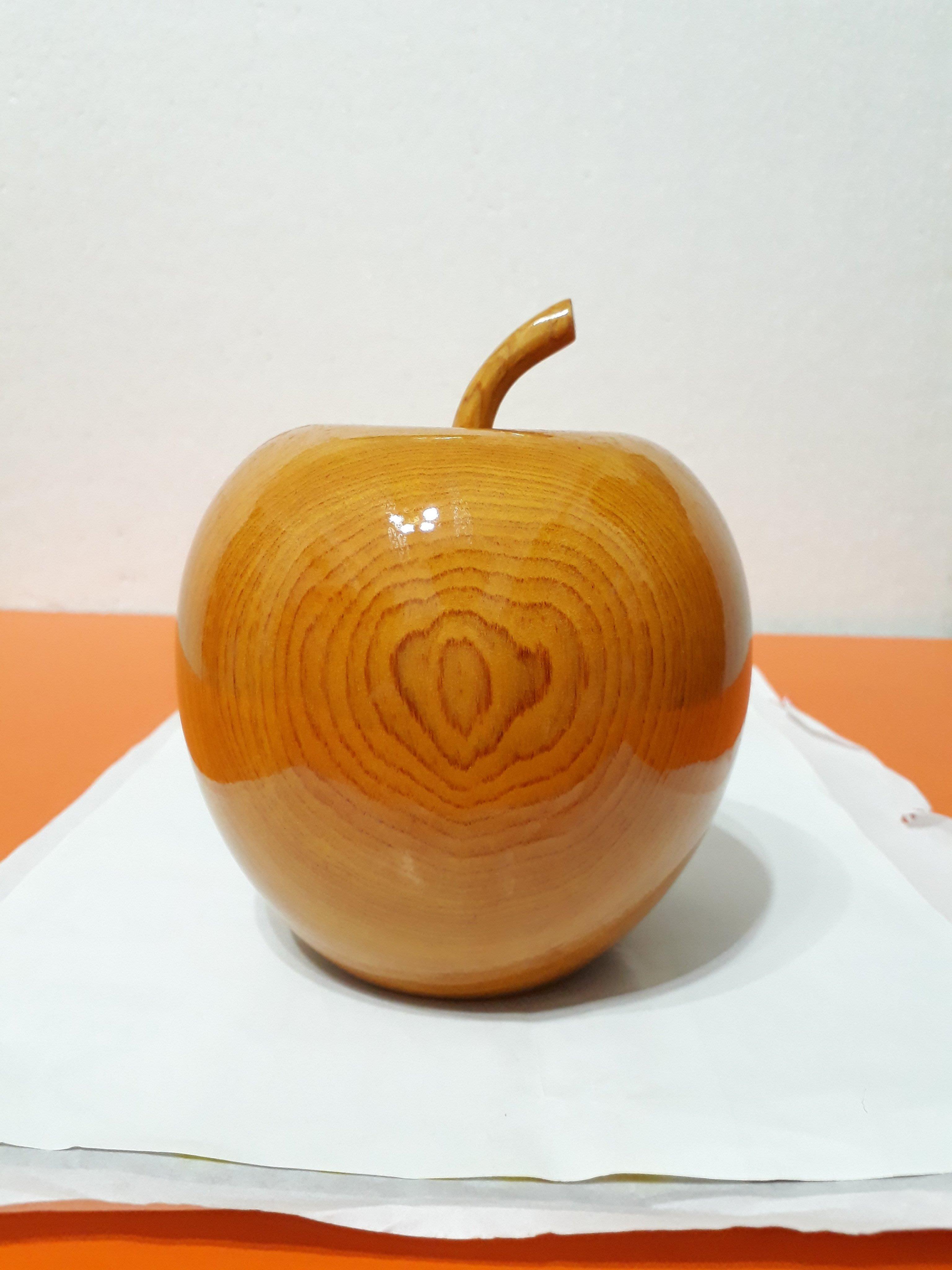 【九龍藝品】精選檜木 ~ 蘋果聚寶盆 ~ 寬約12公分 ( S8 )