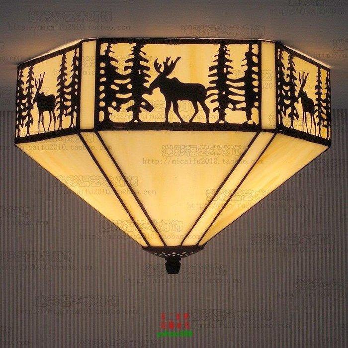 【美學】北美鄉村燈具藝術燈田園麋鹿吸頂燈歐式玻璃工藝(小號)MX_1802