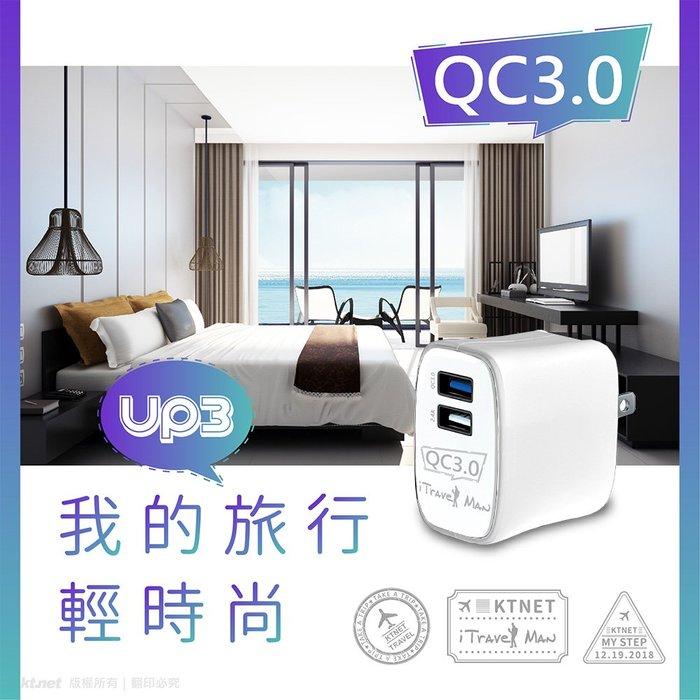 含稅開發票】原廠一年保固】台灣品牌 QC3.0+2.4A雙快充USB充電器 智慧充電識別IC 折疊式AC插頭 智能充電器