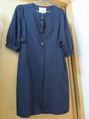 上田專櫃 深藍色一件式修飾身材洋裝 適合OL或參加會議服飾