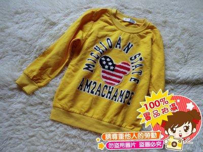 ❤厤庭童裝舖❤最後一件【E451】米奇字母國旗黃色上衣/T恤(9號)