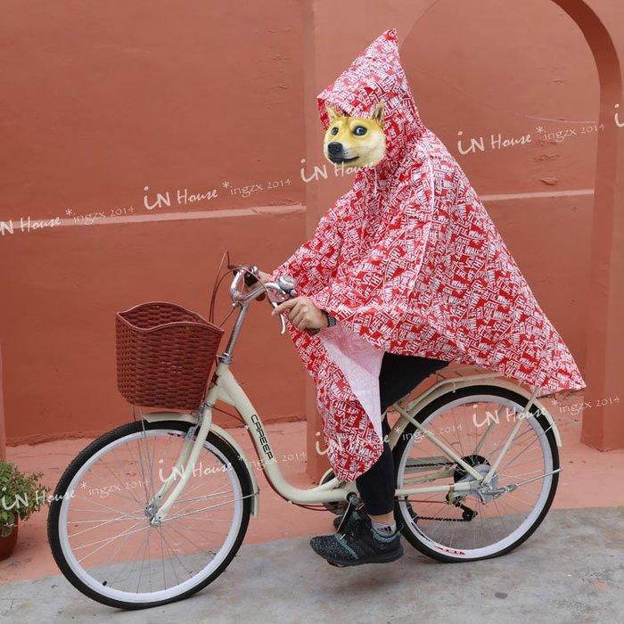 IN House*🇹🇼現貨Raincoat日本嘻哈風 斗篷披風式連身雨衣 非一次性 防水防風便攜 男女連帽套頭雨衣
