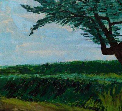 (特價商品)【台灣人珍瓊-200802】A big green tree in the field(Oil 61x55
