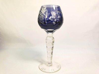 { Ruminant 慕名古物 } 捷克水晶玻璃漸層藍色高腳杯/浮雕花卉水果