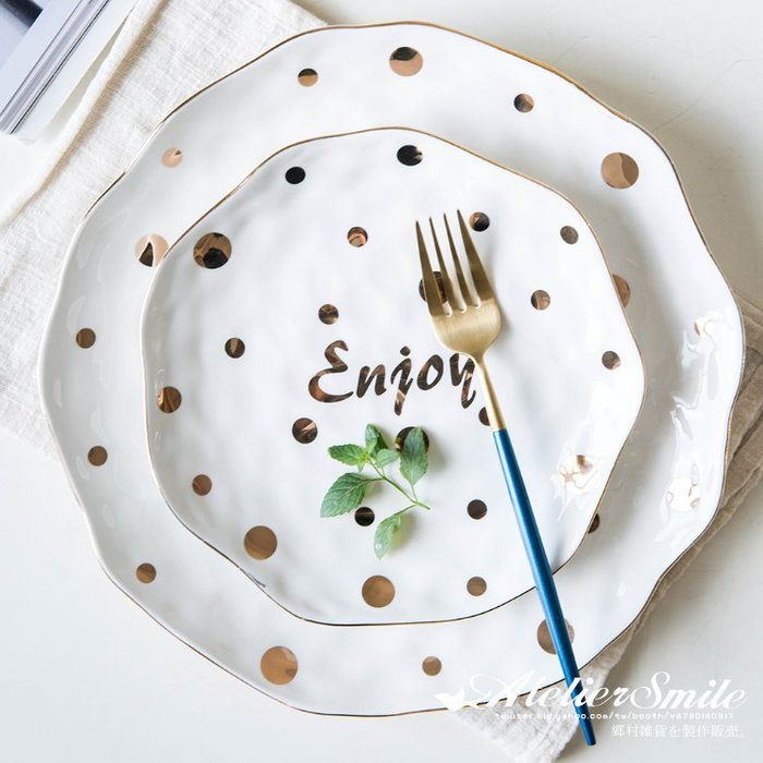 [ Atelier Smile ] 鄉村雜貨 北歐風 金色波點 陶瓷餐盤 甜點盤 # 兩件套  (現+預)
