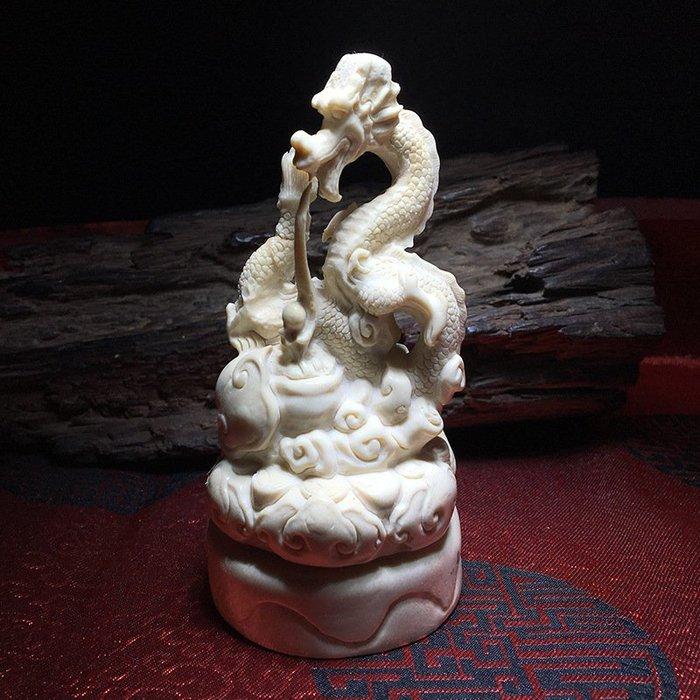 【夕溪閣】~天然鹿角手工雕刻祥龍獻瑞家具辦公擺件可做印章收藏xxgz631495