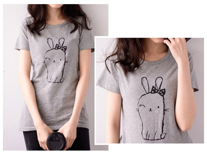 【Hao Da】全館399免運↘「M~XL。現貨」竹節棉 可愛兔子印花舒適棉T (C1023)