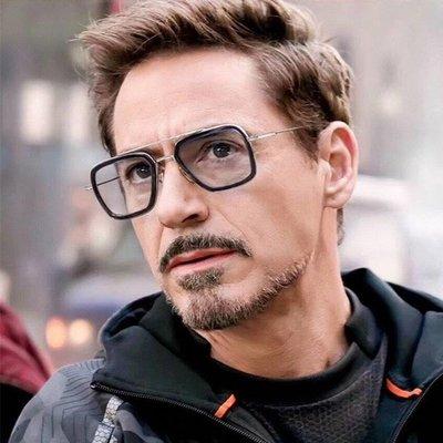 明星的最愛 鋼鐵人同款眼鏡 現貨黑銀色 高質感版本 可配度數 復古眼鏡框 圓框 眉框 金屬框 平光眼鏡 流行眼鏡