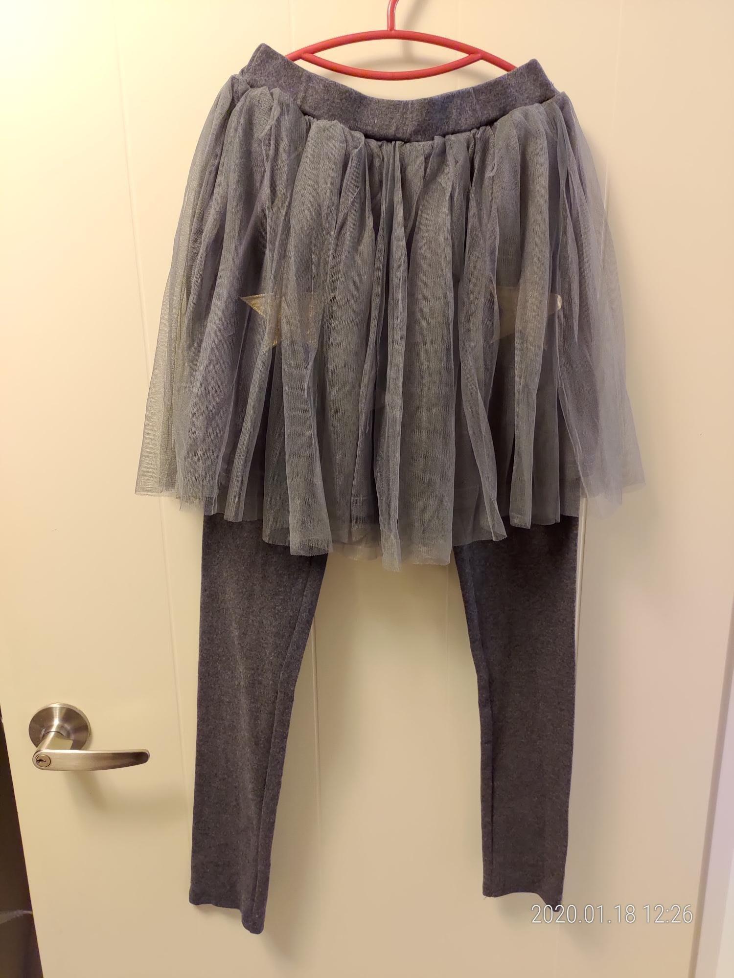 全新灰色大女童厚棉紗裙褲裙內搭長褲  160 uniqlo 可參考