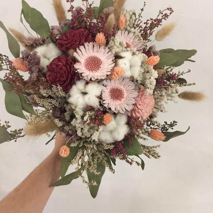 D44。森林草感乾燥捧花。拍照捧花。客製新娘捧花。台北自取【Flower&House花藝之家】