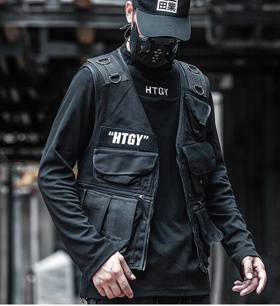 FINDSENSE X 男士馬甲男機能軍事風工裝多口袋戰術背心夾克