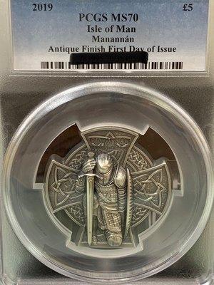 2019 馬恩島 第一任國王十字 3盎司 高浮雕 銀幣 PCGS MS70 Isle Of Man Manannán FD