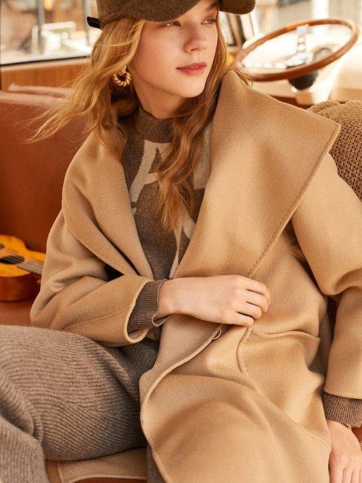 頂級奢華♥大衣☆一粒扣大翻領純羊絨大衣 F