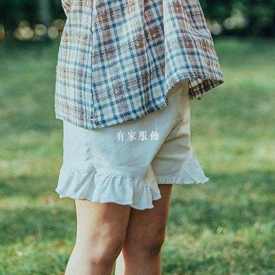 有家服飾植木童轉女童短款夏季2019新款潮木耳邊白色休閒百搭兒童短褲外