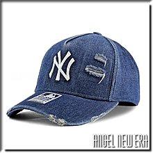 【ANGEL NEW ERA 】MLB Old Fashioned Cap NY  紐約 洋基 丹寧 單寧 破壞 卡車帽