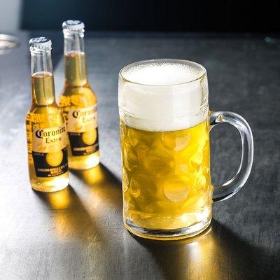 爆款酒具加厚啤酒杯超大容量玻璃杯帶把大號英雄杯酒吧大扎啤杯1000毫升ml