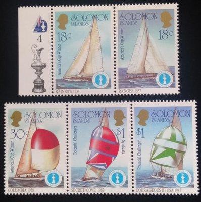 所羅門群島郵票帆船郵票(Sailboat)1987年發行#3604特價