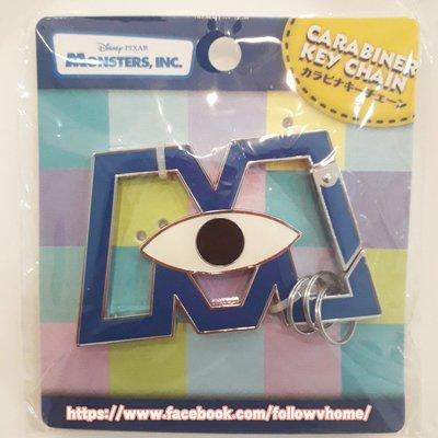◇FollowV◇日本雜貨《現貨》怪獸電力公司 皮克斯 經典藍色M字母 金屬/鋁合金 鑰匙圈 絕版 迪士尼
