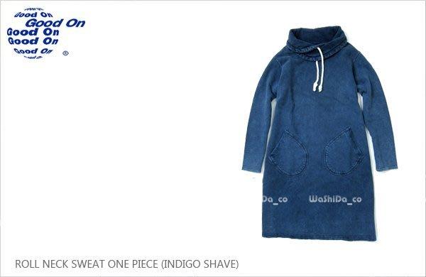 WaShiDa 女裝 Good On 日本品牌 自然 色落 藍染 高領 ONE PIECE 厚棉 長袖 大學T 洋裝