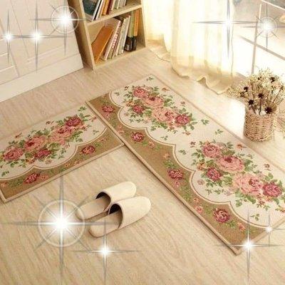 粉紅玫瑰精品屋~玫瑰花語長條厨房地墊防滑脚踏墊~米色牡丹