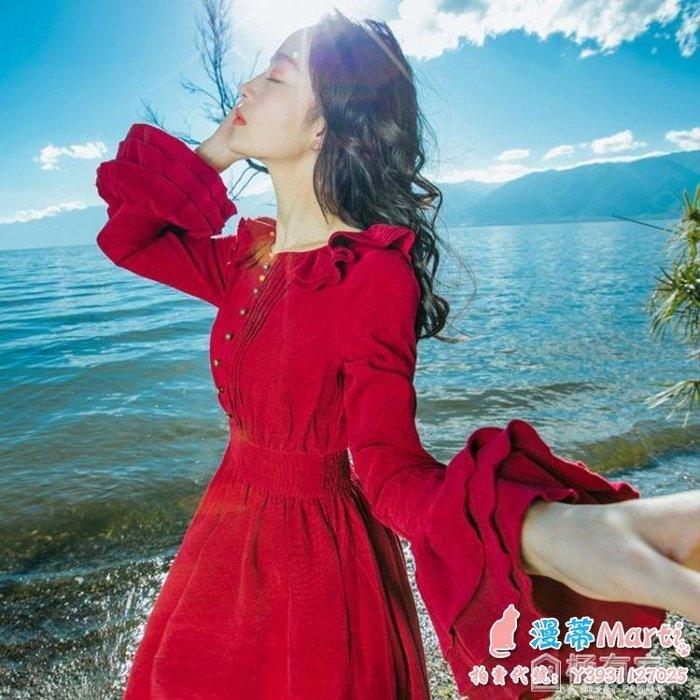 大紅色長袖連身裙女文藝復古小禮服長款裝長裙 全館免運