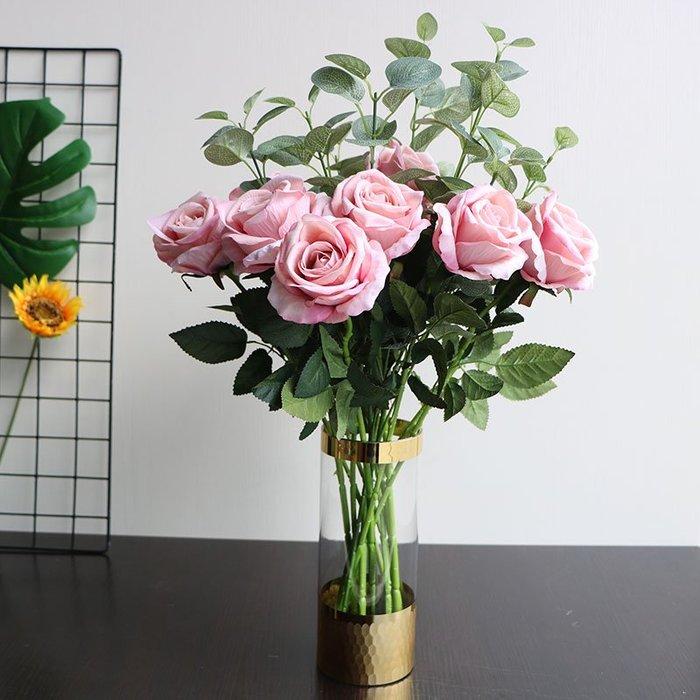 #創意 裝飾品 居家歐式金色玻璃透明花瓶美式餐桌擺件客廳擺設家居裝飾插花花器