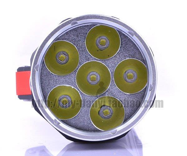 新款 6燈 L2手電筒 潛水手電筒〈 32650鋰電池〉強光手提潛水燈(全套搭配)