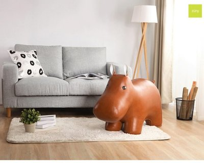 Zuny Giant 河馬大型居家擺飾,職人手作精品家飾! 合成皮革材質,重約15公斤,新居賀禮 空間亮點
