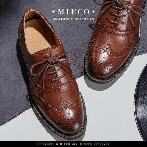 【Mieco】裡外全真皮 復古中性雕花英倫低跟牛津鞋