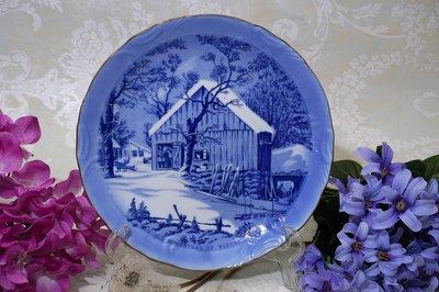 紫丁香歐陸古物雜貨♥♥英國 冬日耶誕節-The old homestead in winter裝飾盤