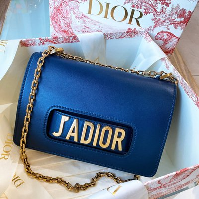 二手旗艦 Christian Dior J'ADIOR 深藍色 25公分 復古金鍊 鍊包 側背包 (中友店) 23502