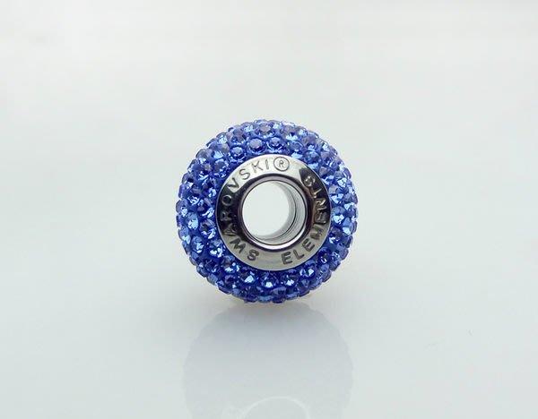 原價605元85折514元 銀飾【swarovski施華洛世奇-圓圓藍鑽】charms 水晶 串珠A8001131021