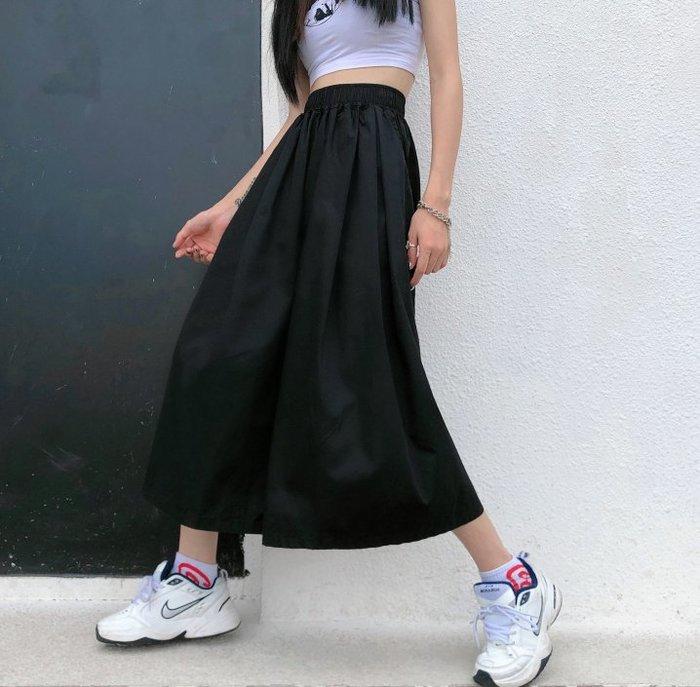 SeyeS 個性時尚暗黑基本款黑色褲裙