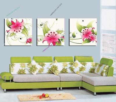 【30*30cm】【厚0.9cm】綠葉紅花-無框畫裝飾畫版畫客廳簡約家居餐廳臥室牆壁【280101_053】(1套價格)