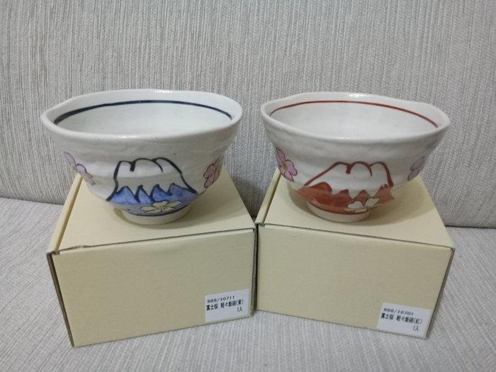 天使熊雜貨小舖~日本帶回富士櫻輕量陶瓷飯碗 現貨:青,紅2款    全新現貨