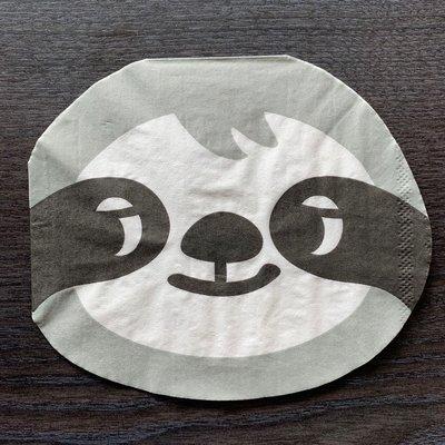❤Lika小舖❤臉寬約14.5公分進口餐巾紙 動物卡通餐巾紙 蝶谷巴特 蝶古巴特 手工藝品 棉紙 樹懶動物