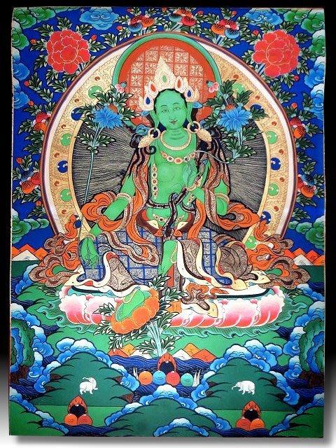【 金王記拍寶網 】S1362  中國西藏藏密佛像高檔精品絹印唐卡 綠度母 紙絹印 (大)一張 完美罕見~