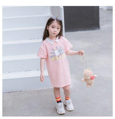 【Mr. Soar】 C386 夏季新款 韓國style童裝女童短袖洋裝 中大童 現貨