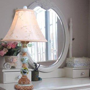 【優上精品】歐式地中海田園風格 藍色彩繪水晶臺燈 客廳臥室書房臺燈k7689(Z-P3233)