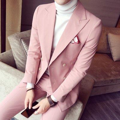 【時尚先生男裝】粉紅色雙排扣小西裝套裝男士韓版修身英倫風潮流休閑帥氣新郎西服韓版西裝 修身西裝 整套西裝 西裝褲 西裝外套正式西裝A0045