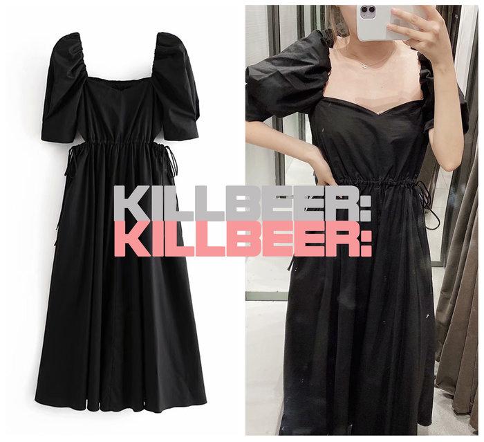 KillBeer:小姊姊等等我之 歐美復古法式優雅氣質絕黑低胸方領泡泡袖綁帶露腰公主式連身裙長洋裝A080202