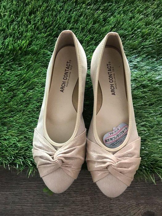 Co媽日本代購 日本製 超好穿 軟底蝴蝶結娃娃鞋 吸汗 放濕 抗菌 消臭 低反發 雙材質蝴蝶結 娃娃鞋 ARCH CONTACT 米色 22號