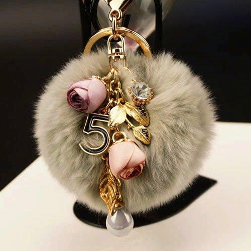 汽車鑰匙扣新款日韓風獺兔毛球花朵款汽車鑰匙扣女包包掛件創意禮品 好康免運