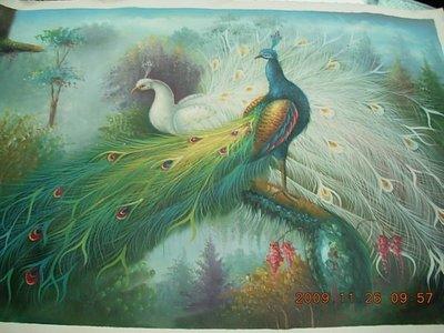 『孔雀開屏』油彩畫布手工油畫原作無框長寬約68x98公分華麗精彩低價起標