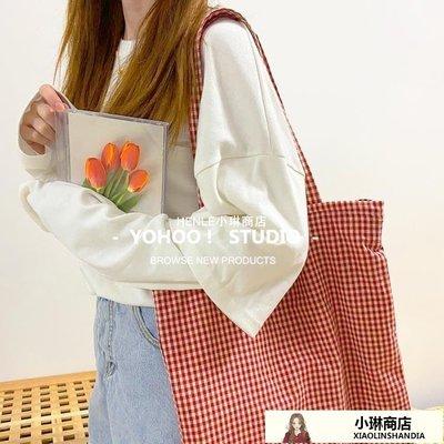 chic法式復古小紅格子百搭單肩帆布包購物袋書包手提女側背包-LE小琳商店