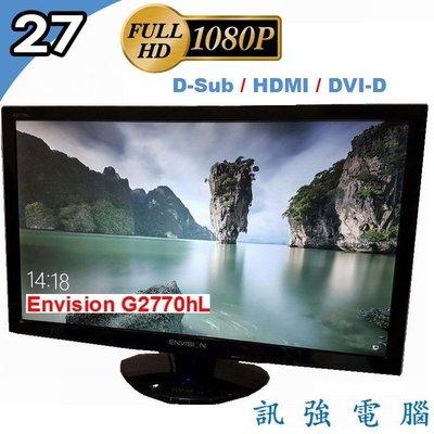 ENVISION G2770HL 27吋 FullHD LED螢幕【D-Sub、HDMI、DVI 輸入】內置喇叭、附線組