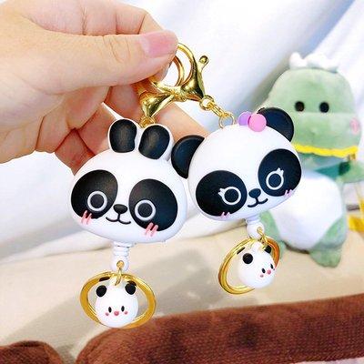 零錢包 巴布熊貓伸縮鑰匙扣可拉伸卡通書包掛件便攜高回彈力門禁鑰匙圈環