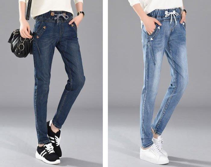 ~☆☆BIGMAYMAY☆☆~中大尺碼1101【X2086-01】大碼新款韓款帥氣綁帶顯瘦設計小腳牛仔褲(特)3